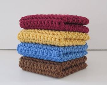 Crochet Washcloth, Dishcloth, Set of 4 Cotton Wash Cloths