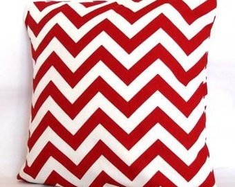 Designer Throw Pillow Covers 20 x 20   Red Zigzag Fabric both sides