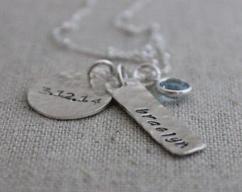 personalized mommy necklace | hand stamped name and birthstone mothers necklace | push present | name and date necklace | gift for mom