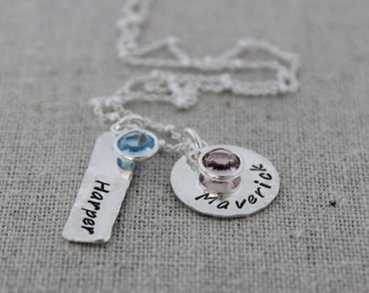 mothers necklace, push present, hand stamped names necklace with birthstones, grandmothers necklace, personalized jewelry, 2 kids names