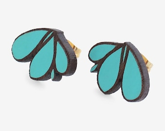 LILY turquoise- walnut studs