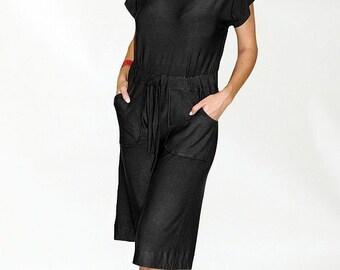 Hannah Knit Romper - Drawstring Waist - Pockets - Button Detailing at Shoulder
