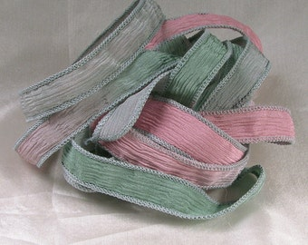 Hand Dyed Silk Ribbons - Crinkle Hand Painted Silk Jewelry Bracelet - Fairy Ribbons - Quintessence - English Rose