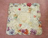 Large Antique Valentine Card.  Pansies with Layered Paper Lace and Angels