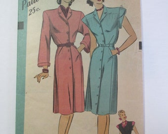 "Antique 1940's Hollywood Dress Pattern #1675 - size 32"" Bust"