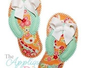 Vintage Flip Flops with Bow Applique Shirt - Custom Machine Appliqué - Personalized Embroidery