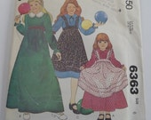 UNCUT McCalls 6363 Girls High Waisted Dress & Pinafore Pattern Size 6 Vintage 1970s Sewing