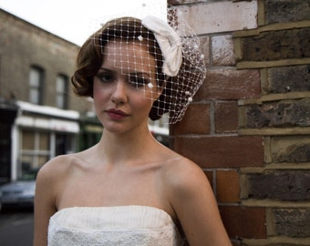 1950s Bridal Headpiece, Bridal Cocktail Hat and Birdcage veil - Polka dot veil - White, Ivory, Cream, Champagne, Black, Navy Blue,  Pink