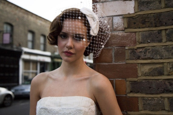 1950s Bridal Headpiece,Silk Bow Hat and Birdcage veil with dots. White, Ivory, Cream, champagne, Black, Blue, very pale Pink ,Rose Pink