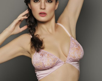 SAMPLE SALE, Size Medium, CARA Misty Lilac Silk and lace Bralette- Long line Camisole bra