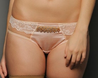 SAMPLE SALE, SIENNA Silver Peony silk satin and Lace Hipster Panties - Wedding lingerie Brief