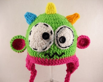 Handmade Crochet Baby girl monster hat with horns and ears, sizes 0 months to Toddler size