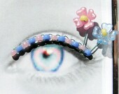 Forget-Me-Not Eyelash Jewelry - false eyelashes with tiny pink and blue flowers