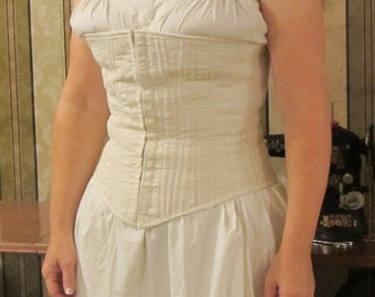 Corded Corset  - Custom Made - hook and eye tape in front, metal grommets in back - lined - heavy cotton canvas and cotton cording