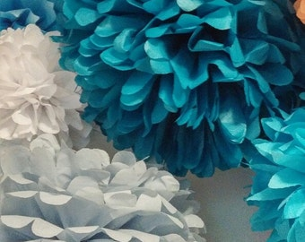 10 Tissue paper poms, Pom Pom, Paper pom, Hanging flowers, Wedding decorations, Baby shower, Bridal party, Party decorations.