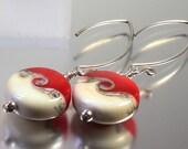 Sterling silver and  lampwork glass earrings in red by Helen Gorick