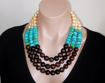Bib Statement Necklace, Ashira Blue Green Chrysocolla, Tiger Ebony, Yellow Mother of Pearl MOP 3 Strand J Crew Style