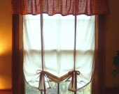 """Primitive Tie Up Curtain Shade, You Choose Fabric for Ties,  36"""" Wide, Handmade in NJ"""