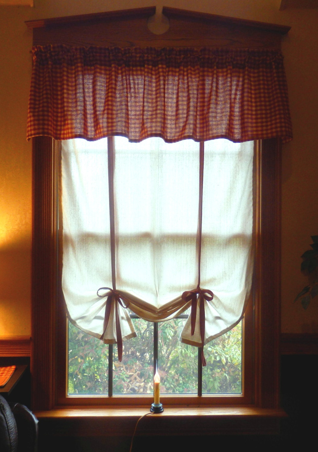 Primitive Tie Up Curtain Shade You Choose Fabric For Ties