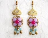 Bohemian Pink Fuschia Earrings Dangle Bridesmaid Earrings Gold Filgree Flapper Drop Earrings Crystal Earrings gift for her