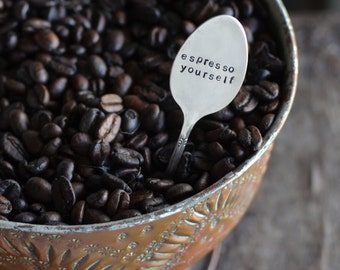 Custom ESPRESSO SPOON.  Hand Stamped Demitasse Spoon. The ORIGINAL Hand Stamped Vintage Coffee & Espresso Spoons™ by Sycamore Hill