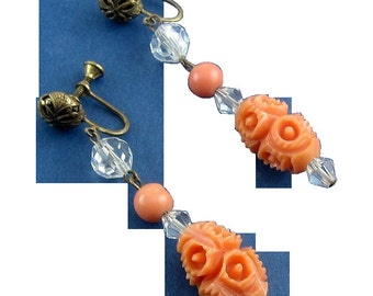 Coral Earrings Galalith & Crystal Drop 1920's ART DECO Carved