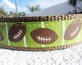 "Dog Collar 3/4"" or 1"" Width Football Love adjustable Side Release buckle dog collar"