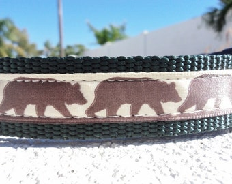 "Brown Bear Dog Collar 3/4"" or 1"" wide Side Release buckle adjustable - no martingales"