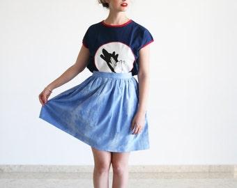 Clearance SALE /Tye Dye Gathered Skirt / Light blue skirt / Skater skirt
