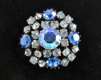 Austrian Crystal Brooch / Pin - Beautiful Vintage Blue Aurora Borealis