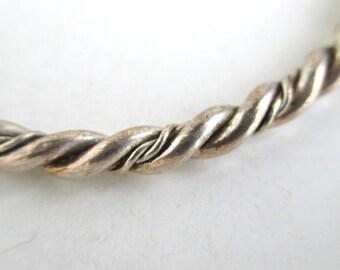 Handmade Silver Bangle Bracelet - Vintage, Twisted Design
