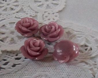 Tiny Pale Lavender Acrylic Rose Beads