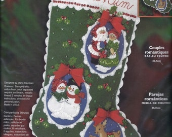 Bucilla ROMANTIC COUPLES Stocking Kit by Plaid, Brand New, Factory Sealed ~ Start your Christmas Crafting Now