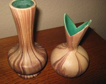 Pair of Handmade and painted pottery vases southwest style