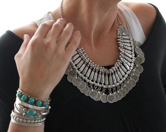 Indian Turkish Antique silver plated coin necklace Vintage inspired  Bohemian Gypsy statement necklace Free people style statement piece