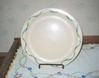Green and  Tan Iroquois Restaurant Ware Dinner Plate