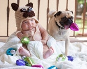 Pug  Hat, crochet pug, dog hat, crochet pug hat, costume alternative