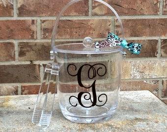 Monogram Ice Bucket - Personalized Acrylic Ice Bucket with Lid