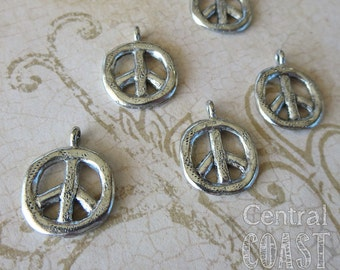 Textured Organic Rustic Peace Sign Pewter Charm Pendant - Antique Silver - 17mm x 22mm - Hippie ~ Boho ~ Love - Central Coast Charms