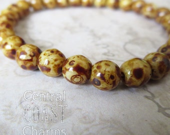 6mm Milky Opaque Champagne Opalite Golden Brown Picasso Czech Glass Bead Round Druk - 25 pcs - Shabby Bohemian Style - Central Coast Charms