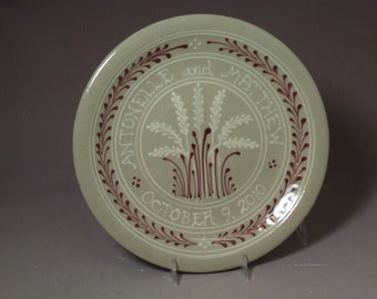 """9"""" Wedding Plate or Baby Child Plate White  Wheat  with  Red  Accents Made to Order"""