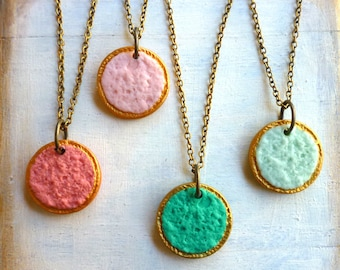 Simple Pastille Bridesmaids Necklaces- Assorted colors matching your dress fabric- Reversible letter necklace - Coral and Mint