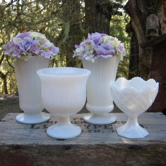 White milk glass vases pedestal compote wedding