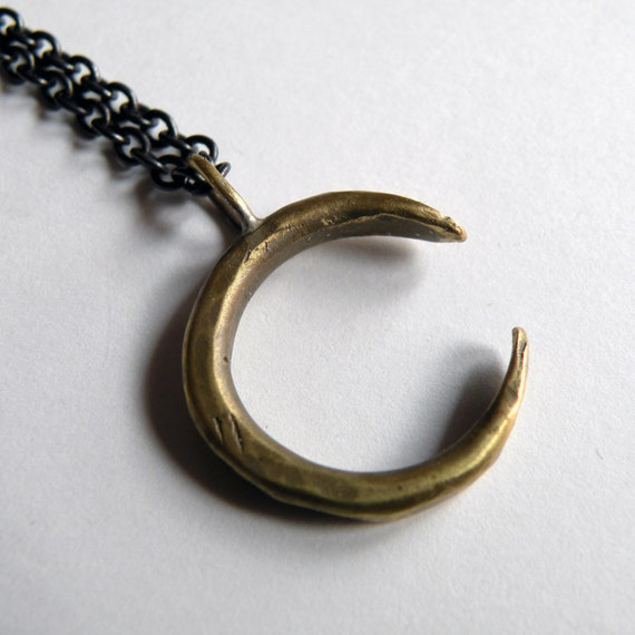 Crescent Moon Necklace, handmade in brass
