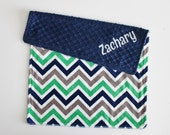 Personalized Chevron DOUBLE MINKY Blanket or Lovey - Midnight Navy Blue, Green, Gray