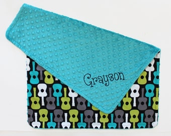 PERSONALIZED Guitar and Teal Minky Stroller Blanket
