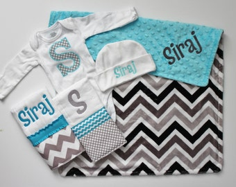 Personalized DOUBLE MINKY CHEVRON Baby Boy Blanket Plus 2 Burp Cloths, Knit Cap and Initial Bodysuit - Turquoise and Gray