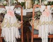 Chair Signs / Bride and Groom Signs / Mr. and Mrs. Signs / Wedding Signs / Photo Props / Calligraphy Signs / Laser Cut Signs