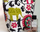 Large cosmetic case, makeup bag, elephant medallion zippered Travel Bag, accessories case, pencil case in Black, Pink, Green and White