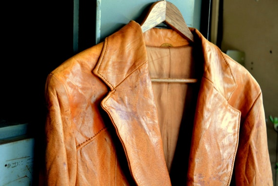 Mens Tan 70s Leather Jacket : Vintage Fitted Western Cut Two